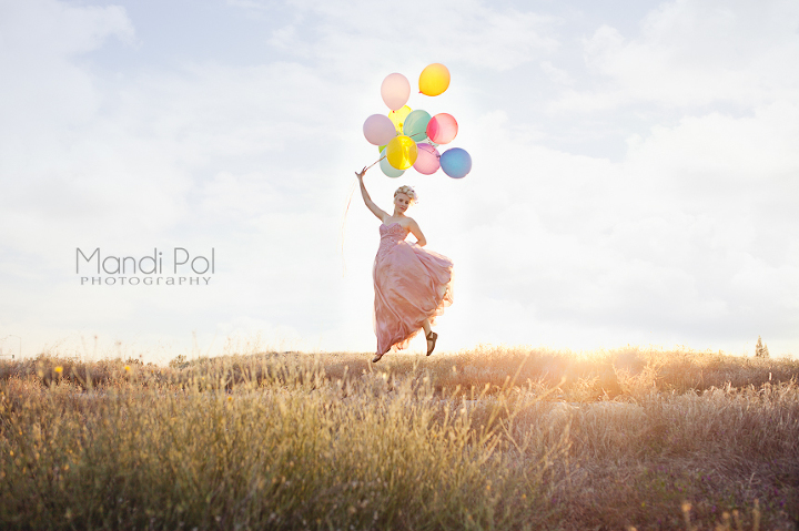 beautiful princess floating in the air with baloons
