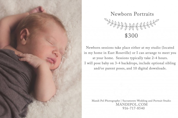 pricing for newborn portraits in sacramento