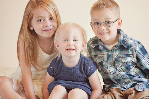 cute siblings in sacramento portrait studio