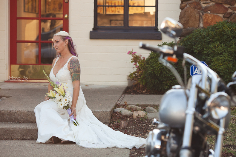 edgy alternative bride by motorcycle