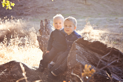 two cute brothers out in the country
