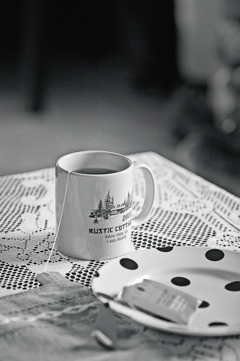 black and white photograph of lake tahoe coffee mug