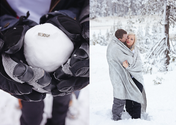 lake tahoe snowy engagement photos