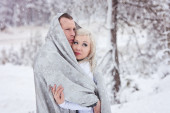 snowy lake tahoe engagement photos