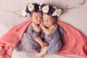 newborn portrait of twin baby girls